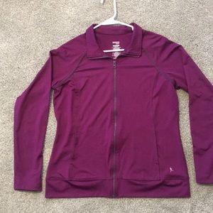 Athletic dark purple semi fitted zip up